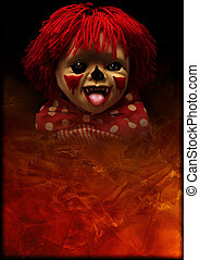 spooky, halloween, grunge, achtergrond, clown