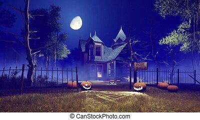 Spooky Halloween house at misty night 4K