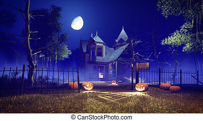 Spooky Halloween house at misty night