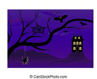 Spooky Halloween House - Vector illustration of a spooky ...