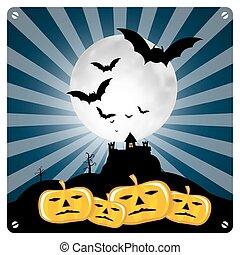 spooky, halloween, illustration, potirons, chauves-souris, retro, heureux, château
