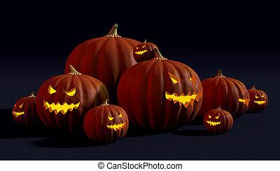 Spooky Halloween jack-o-lanterns