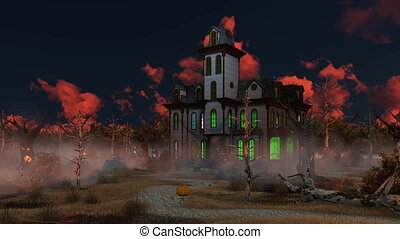 Spooky Halloween mansion at misty dusk 4K - Spooky mansion...