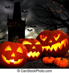Spooky Halloween night scene