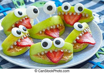 Spooky Halloween party monsters - Spooky green apple ...