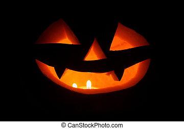 Spooky halloween pumpkins (jack-o-lantern). Closeup shot.