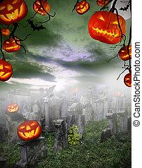 Spooky halloween pumpkins on cemetery