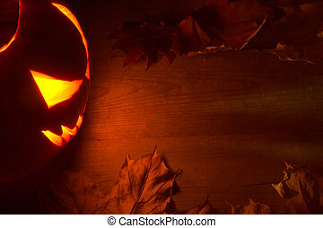 Spooky halloween red background with jack o lantern