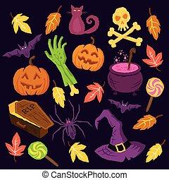 Spooky Halloween Symbols including pumpkins, bats, spiders, ...