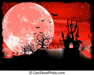 Spooky Halloween composition with horror house and popular holiday attributes. EPS 8 vector file included