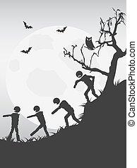 spooky halloween zombies background