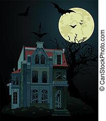 spooky, hanté, fond, maison