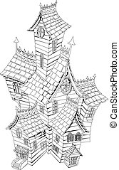 Spooky haunted house illustration - Black and white ...