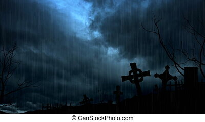 Spooky Headstones Silhouetted against a Stormy Night Sky -...