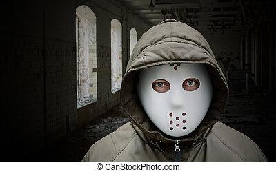 spooky, homme, à, masque