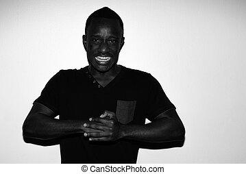 spooky, horreur, jeune, noir, africaine, portrait, blanc, fâché, homme