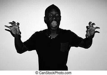spooky, horreur, jeune, noir, africaine, portrait, blanc, homme