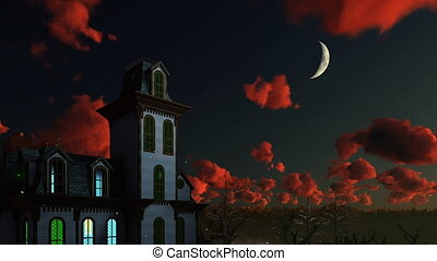 Spooky house and dramatic night sky 4K