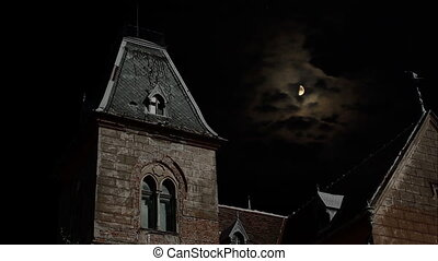 """Abandoned old """"possible"""" ghosts haunted place, shot nighttime with moon and clouds in background. Suitable for horror/ghosts/crime/scary stories."""