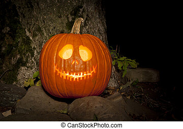 Spooky Jack-o-lantern Outdoors