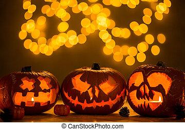 Spooky jack-o'-lanterns - Three spooky jack-o'-lanterns made...