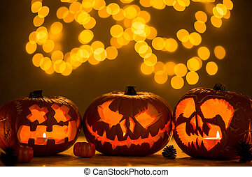 Spooky jack-o'-lanterns - Three spooky jack-o'-lanterns made...