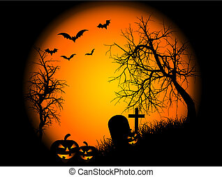 Spooky landscape scene on Halloween night