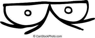 spooky line drawing cartoon eyes