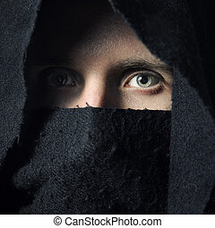 Spooky man in hood - Spooky man in black hood