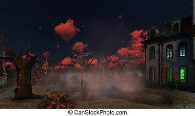 Spooky mansion among creepy trees at dusk - Supernatural...