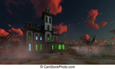 Spooky mansion at eerie sunset 4K - Eerie sunset clouds...