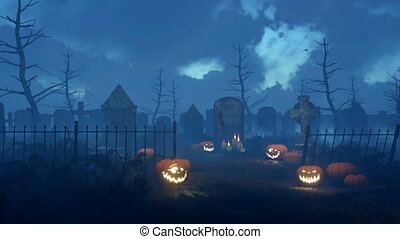 Spooky night cemetery with halloween pumpkins - Abandoned...