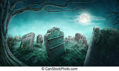 Spooky old graveyard at night