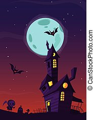 Spooky old haunted house with ghosts. Halloween cartoon background. Vector illustration