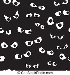 spooky, olhos, seamless