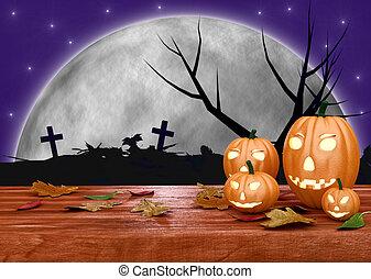 spooky, potirons, halloween, fond, cimetière