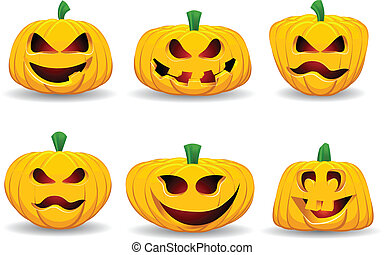 A collection of spooky Halloween pumpkins