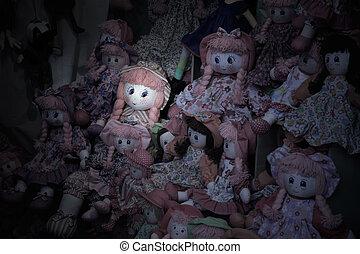Spooky rag doll in a girl's bedroom