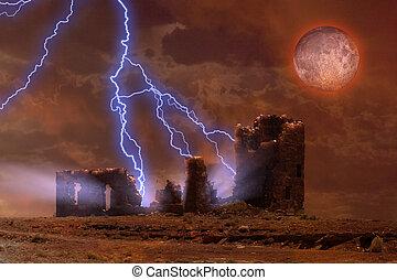 Spooky ruins - Lightning strikes spooky ruins