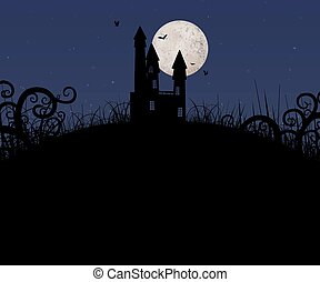 Illustration of a haunted house on a hill with the moon behind