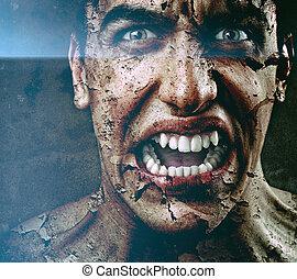spooky, schrikaanjagend, man, met, oud, gebarsten, schillen, huid