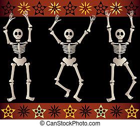 Spooky Skeletons - Three spooky skeletons jump and dance...