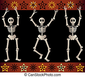 Spooky Skeletons - Three spooky skeletons jump and dance...