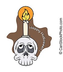 Spooky Skull with Candle Vector
