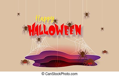 Spooky spiders and web. Happy Halloween banner