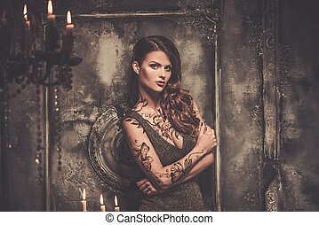 spooky, tatuado, mulher, bonito, interior, antigas