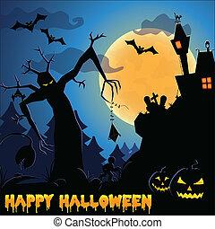 spooky, temat, halloween