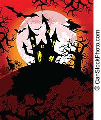 spooky, thema, halloween