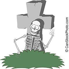 Spooky tombstone - A gray cross-shaped gravestone with grass...
