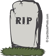 Spooky tombstone - A gray gravestone with grass and RIP text